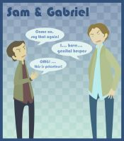 Supernatural - Sam + Gabriel by Bisho-s