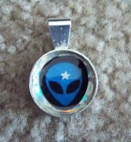 Blue Alien Pendant by StaceyQuay