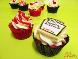 Ketchup Cupcakes by thesearejessicakes