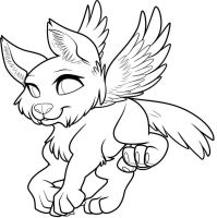 Free Winged Pup Lineart by Sapphira-Page