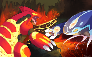 Primal Groudon and Kyogre Battle by Phatmon66