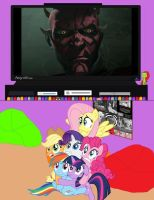 Mane 6 watches Darth Maul return by Jax1776