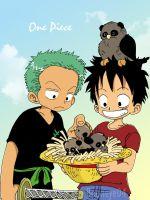 Childhood . Luffy and Zoro by Booneyered04