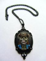 Hand Painted Cowboy Zombie Cameo Necklace by PaintIt13lack