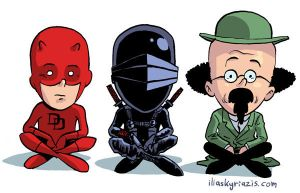 Daredevil, SnakeEyes + Prof. Tournesol by iliaskrzs