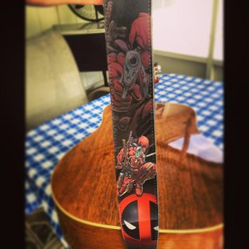 DEADPOOL LEATHER GUITAR STRAP!!!! by rightbeforethefall