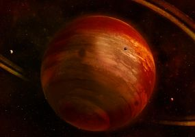 Red Gas Giant with Ring by Johndoop