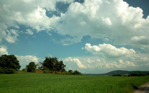Field and clouds by aktron