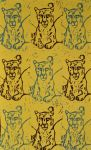Blue and Brown on Yellow Snow Leopard Repeat Lino by Erinwolf1997