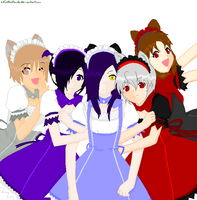 The group of maids by LilGothicPanda