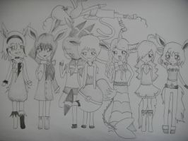 Eeveelution Gijinka Girls by pokepokepotato