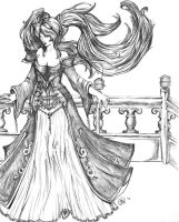 Sona- League of legends (uncolored) by dragonmysticae