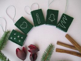 Tiny Green Felt Books with Silver Embroidery by ExinaArt