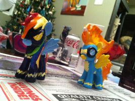Spitfire and Shadowbolt Rainbow Dash MLP Customs by Nsomniotic