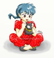 Ranma and P-Chan by Tikkaaa