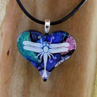 Dragonfly Love Fused Glass by FusedElegance