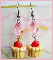 Strawberry Pastry Earrings by cherryboop