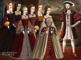 The six wives of Henry VIII by Nurycat