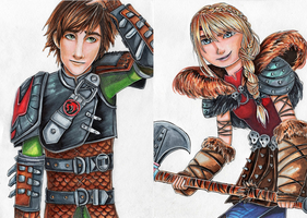 Hiccup and Astrid by KateSennikova