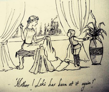 Frigga and little Thor by Adititwh
