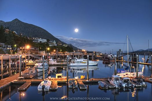 Moonrise over Ketchikan by Muskeg