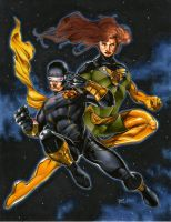 Cyclops and Phoenix by RichardCox