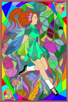 St. Patrick's Day_Stained Glass Irish Dancer by SirSkullReed