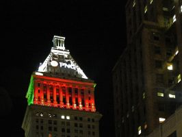PNC Building at night at Christmas by steverlfs