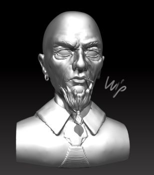 WIP man bust by SaephireArt