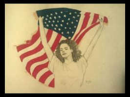 Lana del Rey with the American Flag by WonderKaa