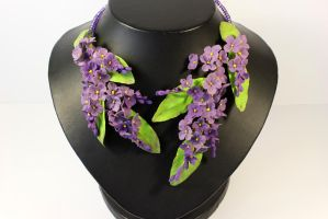 Violet Lilac flower necklace by fion-fon-tier