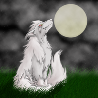 Two tailed white mightyena by AlexisRendell