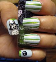 Totoro and soot sprite nail by RxJoker