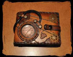 steampunk leather wallet by Lagueuse