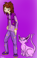 Trainer and Espeon by Mew-tew