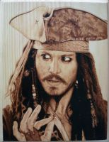 Captain Jack Sparrow Pyrography (Woodburning) by Rob31Art