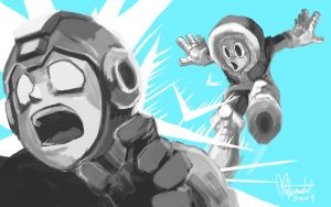 Mega Man vs Ice Man by spacecoyote