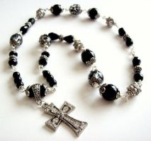 CROSS NECKLACE- black and white GASOLINE by Gerene33