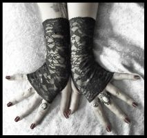Shadow Lace Fingerless Gloves by ZenAndCoffee