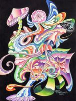 psychedelic mushrooms and stuf by tattoopink