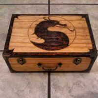 Woodburned mortal kombat box by chui92