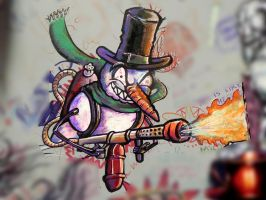 Flamethrower Snowman by rumpelstilzchen