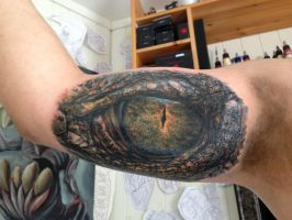 Crocodile eye tattoo by AtomiccircuS