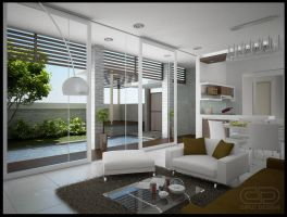Living Room with Pool Outside by ciptautama