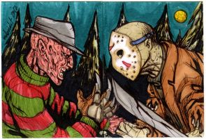Freddy vs Jason sketch card commission by mdavidct