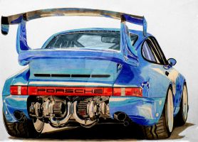 Bisimoto Porsche 911 Twin Turbo Drawing by hary1908