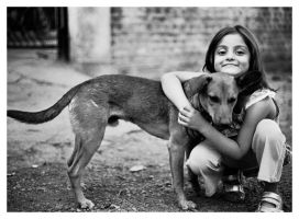 girl and dog by carvinganish