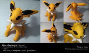 Sitting Jolteon plushie by Neon-Juma