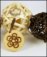 Keychain A knotted with phyrography decoration by SuniMam