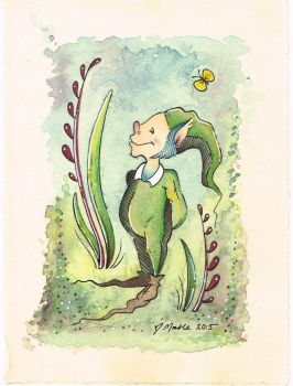 Tiny Elf~ Watercolor by PinkBunnie